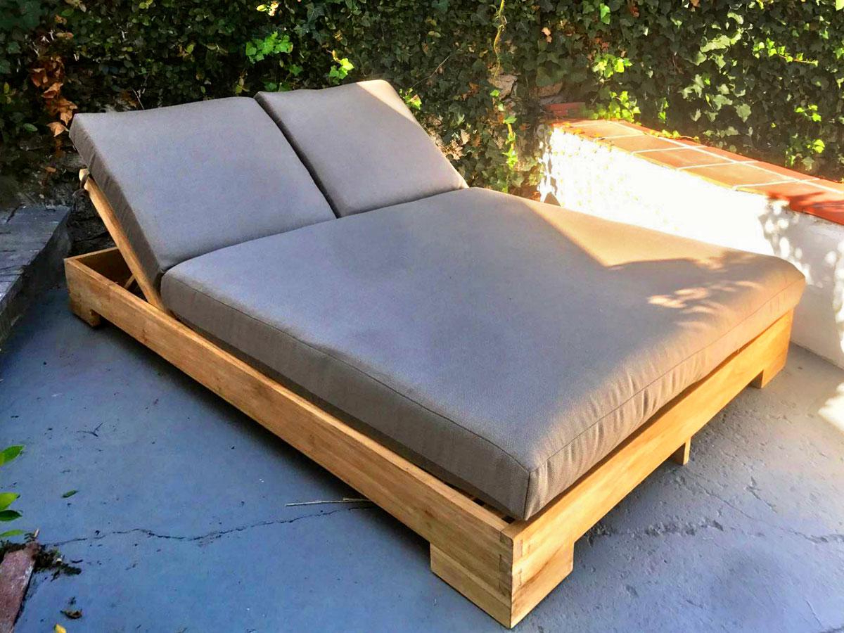Fashionable Teak Chaise Loungers With Teak Double Chaise Lounge With Sunbrella Cushion (View 4 of 25)