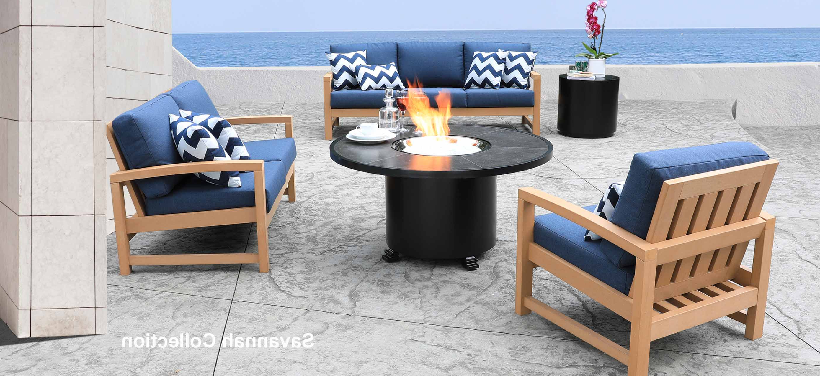 Fashionable Wood Blue And White Cushion Outdoor Chaise Lounge Chairs Pertaining To Shop Patio Furniture At Cabanacoast® (View 10 of 25)