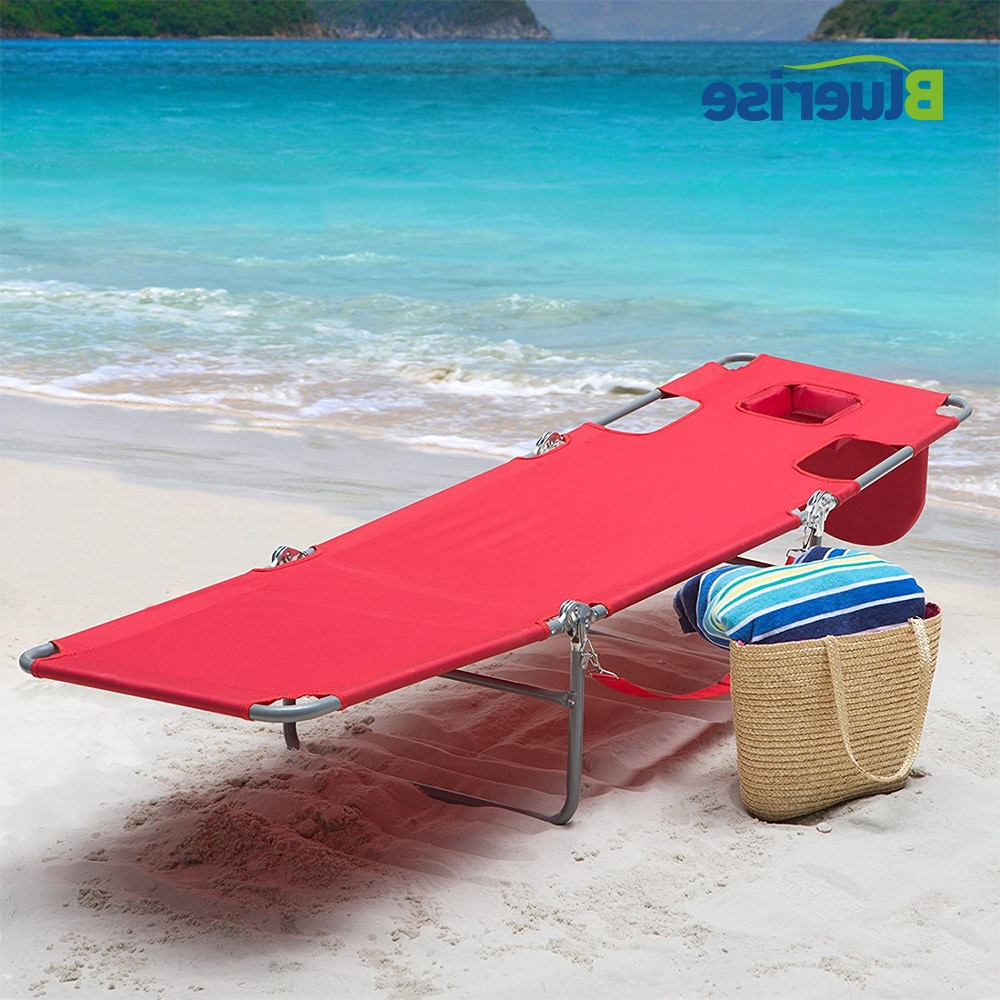 Favorite 3 Position Portable Reclining Beach Chaise Lounges Throughout Bluerise Outdoor Furniture Folding Beach Chair Three (View 12 of 25)