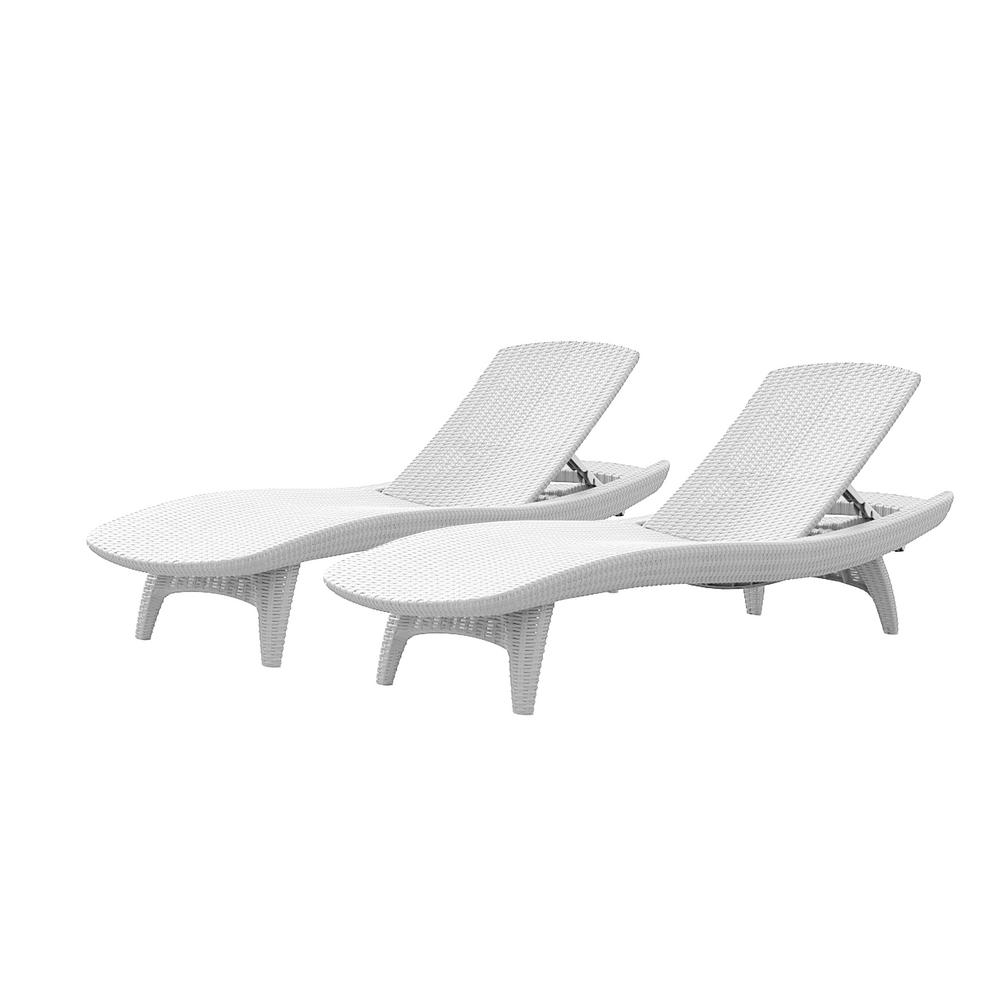 Favorite Amazonia Pacific 3 Piece Wheel Lounger Sets With White Cushions Pertaining To Keter Pacific Oasis White All Weather Adjustable Resin Outdoor Chaise Lounge Chairs (2 Piece Set) (View 16 of 25)