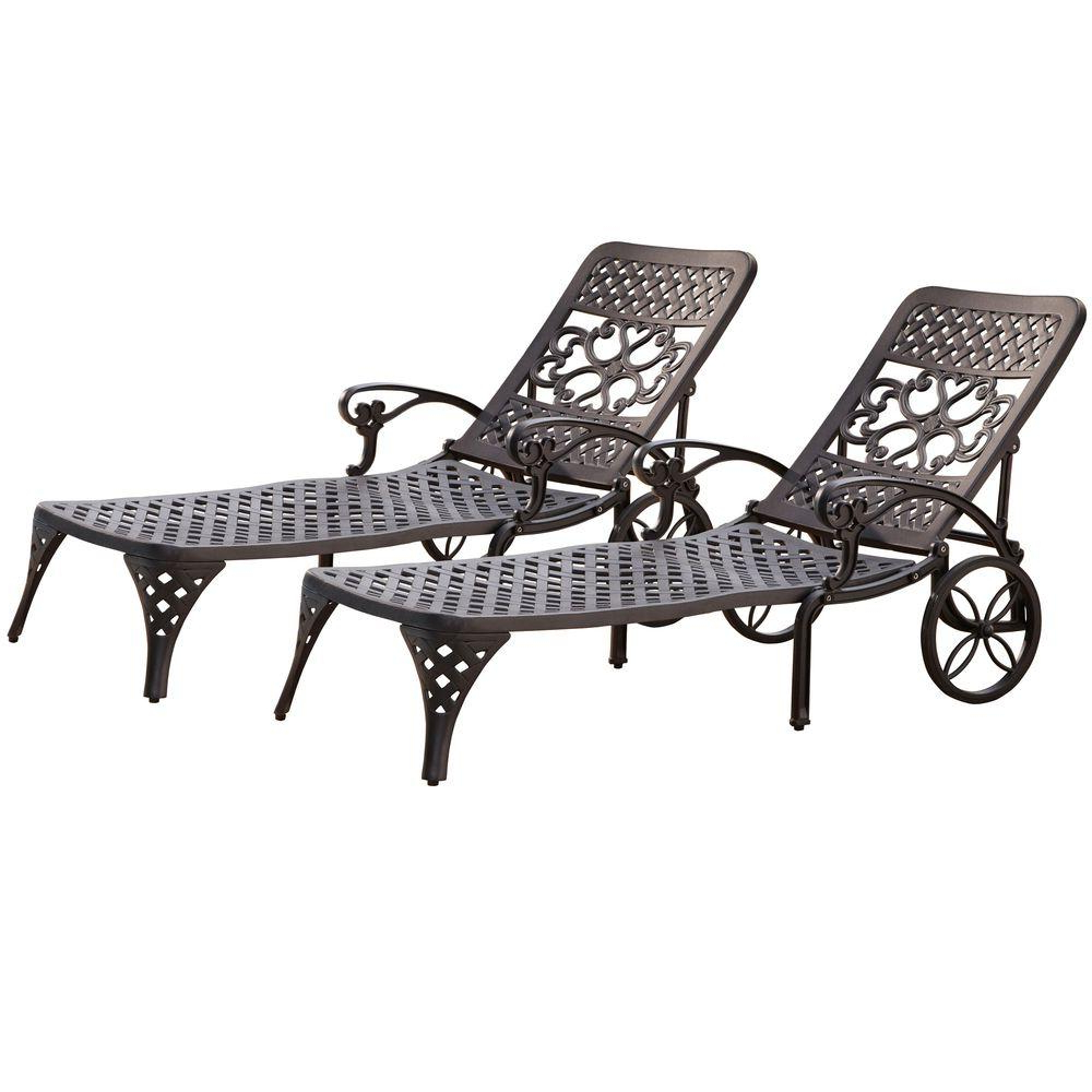 Favorite Biscayne White Chaise Lounge Chairs Throughout Home Styles Biscayne Black Patio Chaise Lounge (set Of 2) (View 6 of 25)