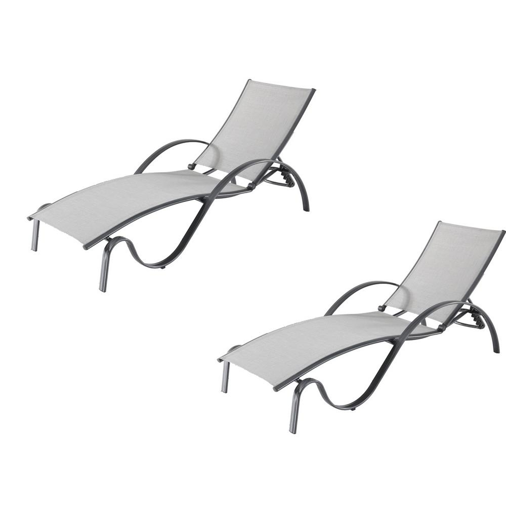 Favorite Black Sling Fabric Adjustable Chaise Lounges Regarding Hampton Bay Commercial Grade Aluminum Light Gray Outdoor Chaise Lounge With Sunbrella Augustine Alloy Sling (2 Pack) (View 20 of 25)