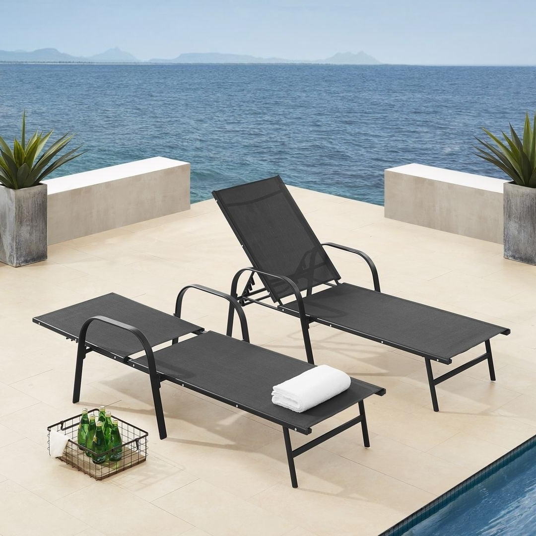 Favorite Black Sling Fabric Adjustable Chaise Lounges With Regard To Corvus Antonio Outdoor Black Sling Fabric Adjustable Chaise Lounge (View 10 of 25)