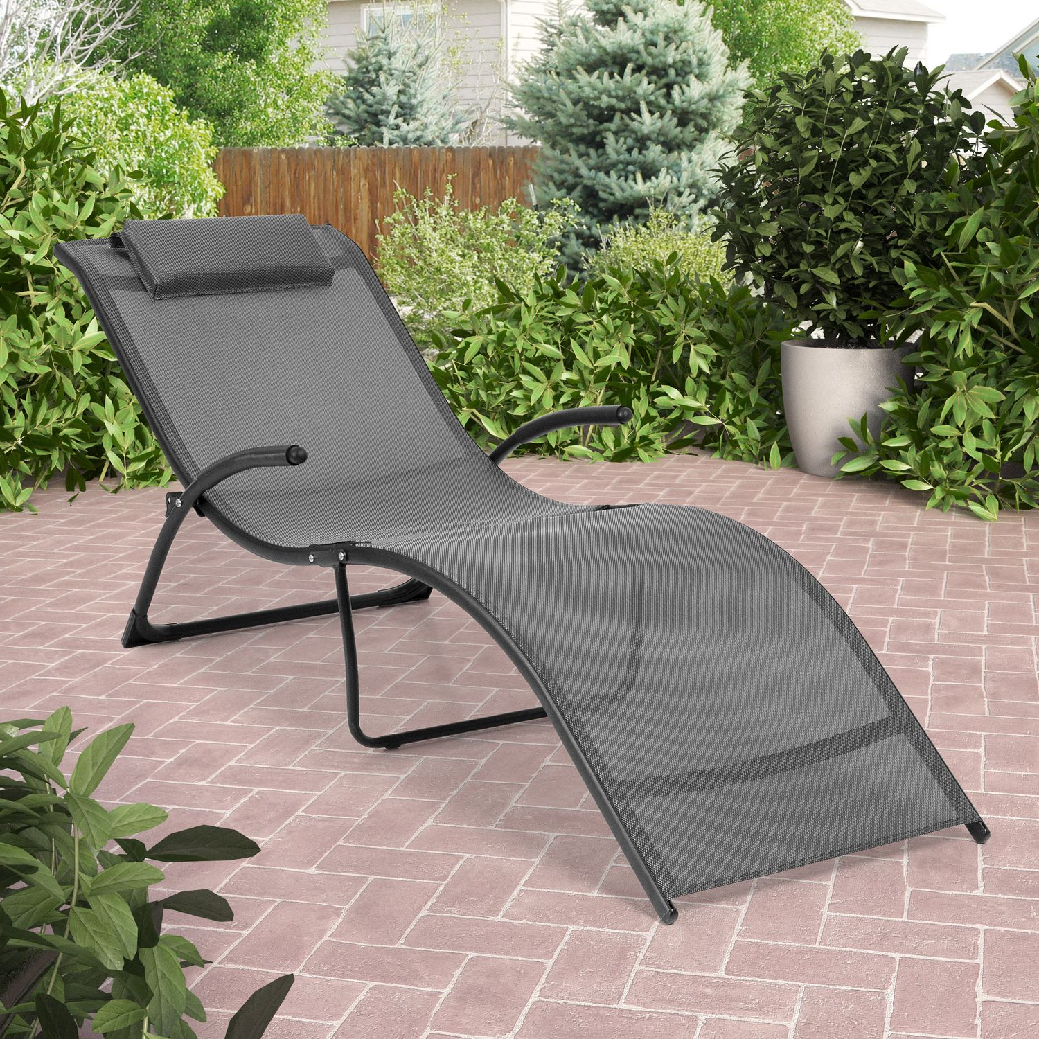 Favorite Corliving Riverside Folding Black And Silver Grey Patio Lounge Chair With Corliving Riverside Textured Loungers (View 13 of 25)