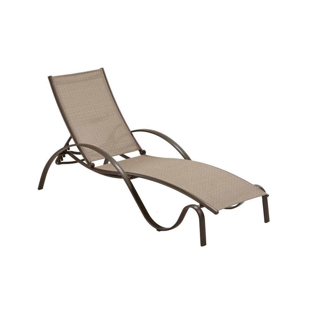 Favorite Curved Folding Chaise Loungers Inside Hampton Bay Commercial Grade Aluminum Brown Outdoor Chaise Lounge In  Sunbrella Elevation Stone Sling (View 10 of 25)