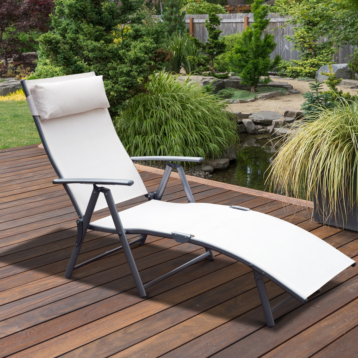 Favorite Details About Outsunny Sling Fabric Patio Reclining Chaise Lounge Garden  Furniture Folding Intended For Steel Sling Fabric Outdoor Folding Chaise Lounges (View 3 of 25)