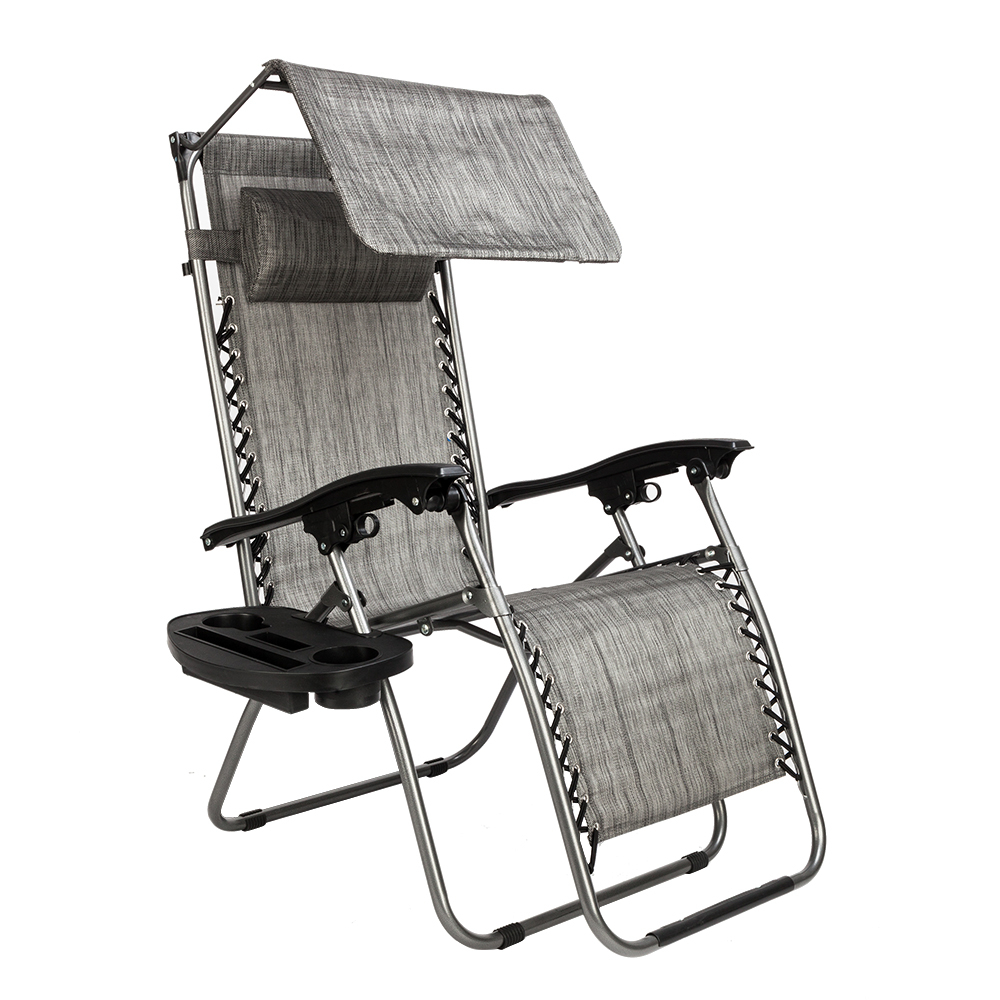 Favorite Details About Zero Gravity Folding Patio Lounge Beach Recliner Chairs W/ Sunshade Cup Holder Regarding Folding Patio Lounge Beach Chairs With Canopy (View 2 of 25)