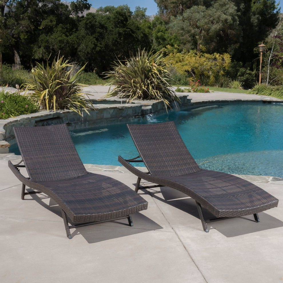 Favorite Eliana Outdoor Brown Wicker Chaise Lounge Chairs, Set Of 2 With Kauai Outdoor Wicker Chaise Lounges (View 15 of 25)