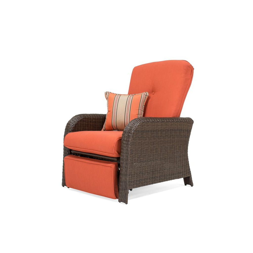 Favorite La Z Boy Sawyer Wicker Outdoor Recliner With Sunbrella Spectrum Grenadine Cushion Within Outdoor Adjustable Rattan Wicker Recliner Chairs With Cushion (View 12 of 25)
