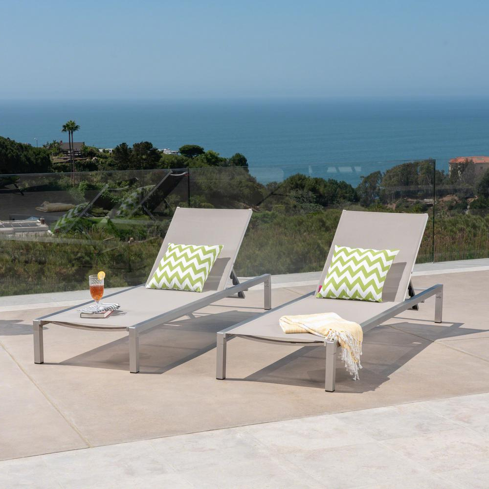 Favorite Navan Outdoor Aluminum Chaise Lounges With Cushion In Noble House Navan Silver Aluminum Adjustable Outdoor Chaise Lounge (2 Pack) (View 7 of 25)