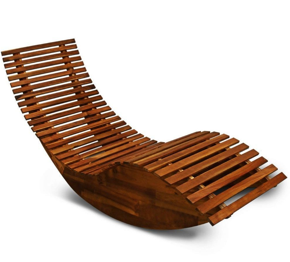Favorite Outdoor Rocking Loungers In Wooden Garden Sun Bed Patio Lounger Recliner Rocking Chair (View 8 of 25)