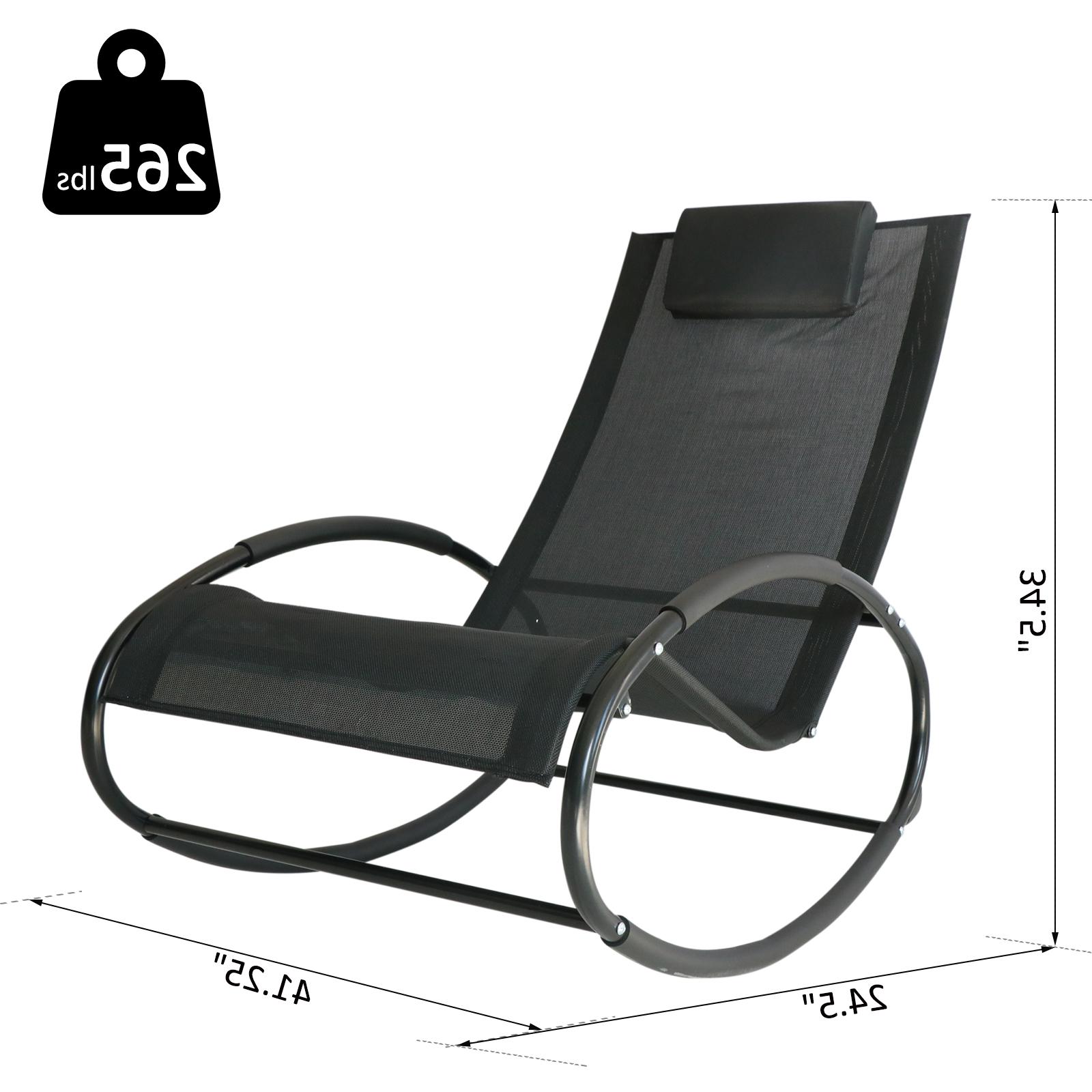 Favorite Outsunny Patio Rocking Lounge Chair Orbital Zero Gravity Seat Pool Chaise  W/ Pillow Black For Orbital Patio Lounger Rocking Chairs (View 1 of 25)