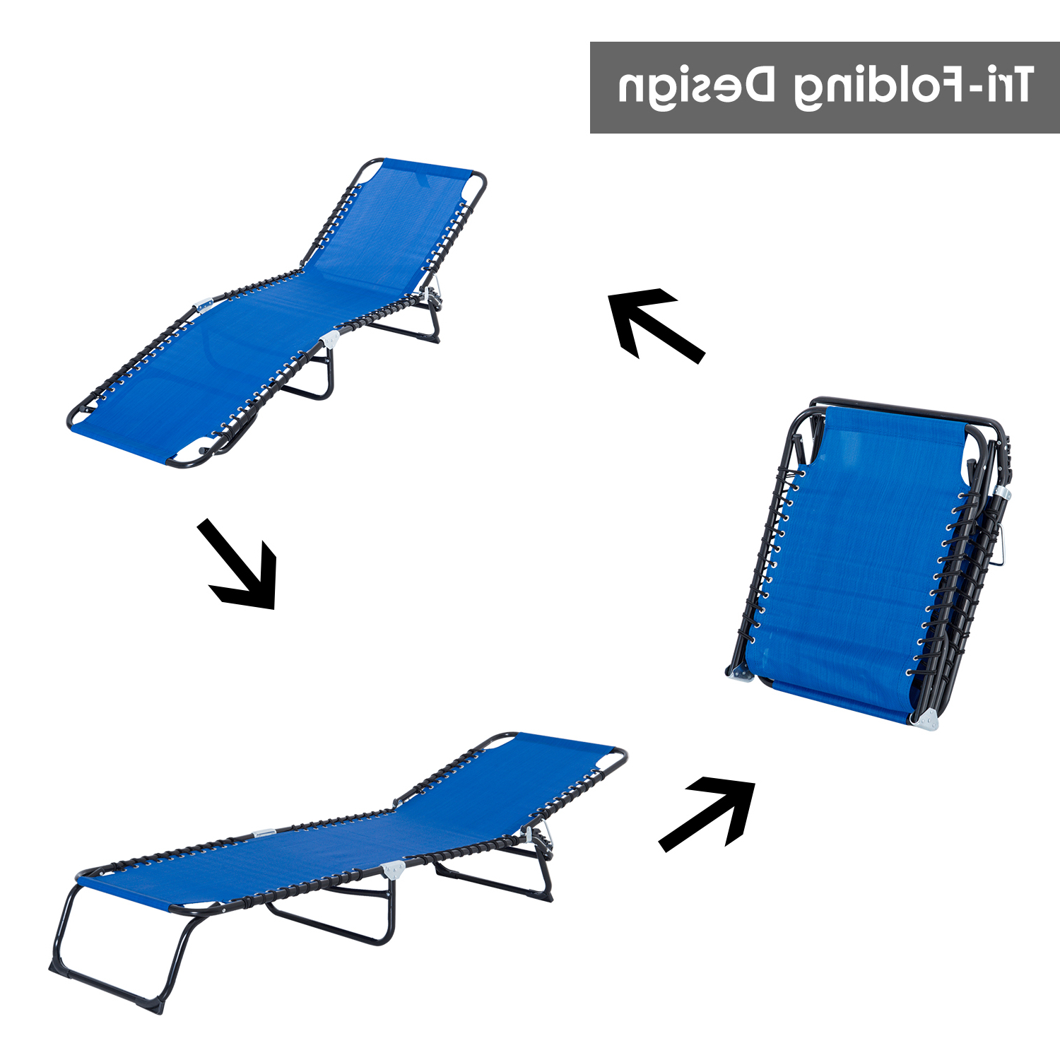 Favorite Outsunny Portable 3 Position Reclining Folding Beach Chaise Lounge Chair With Regard To 3 Position Portable Folding Reclining Beach Chaise Lounges (View 10 of 25)
