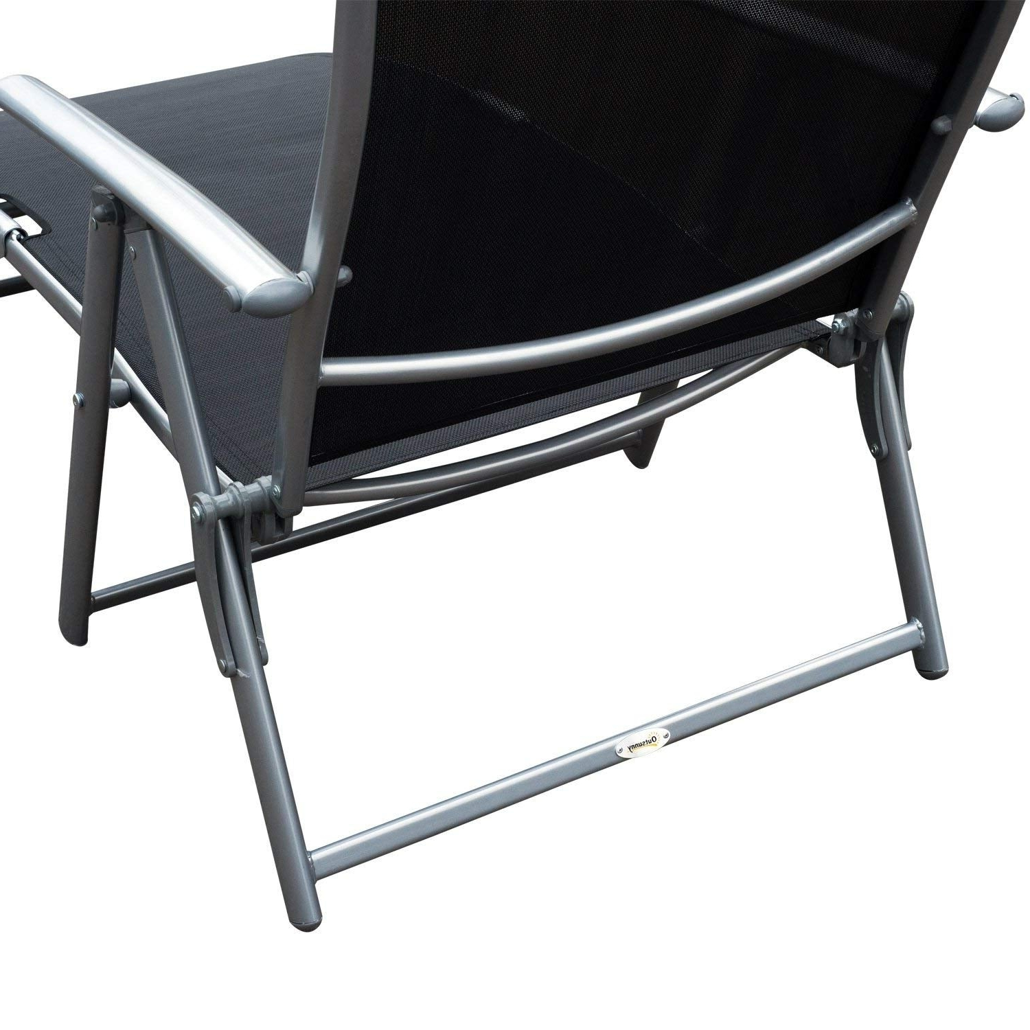 Favorite Outsunny Steel Sling Fabric Outdoor Folding Chaise Lounge Chair Recliner –  Black For Steel Sling Fabric Outdoor Folding Chaise Lounges (View 4 of 25)