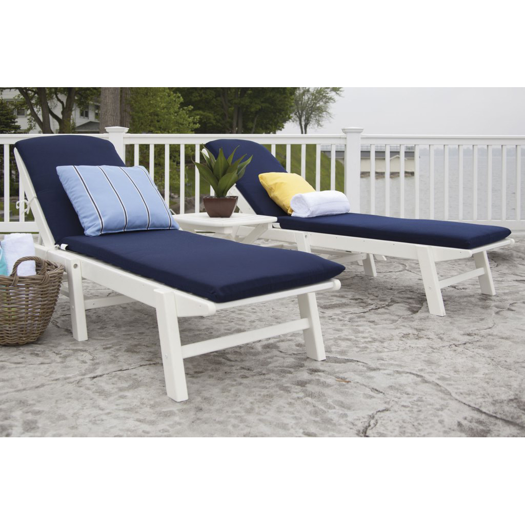 Favorite Polywood® Nautical 3 Piece Chaise Set With Cushions Regarding Stackable Nautical Outdoor Chaise Lounges (View 6 of 25)
