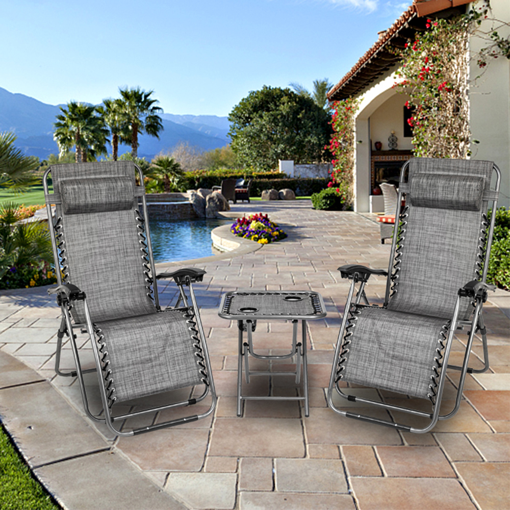 Favorite Reclining Patio Chairs, 3pcs Foldable Camp Lounge Chair Zero Gravity With Adjustable Headrests, Strong Beach Chairs And Table With 2 Cup Holders, Hold Within Sunset Patio Sling Folding Chairs With Headrest (View 22 of 25)