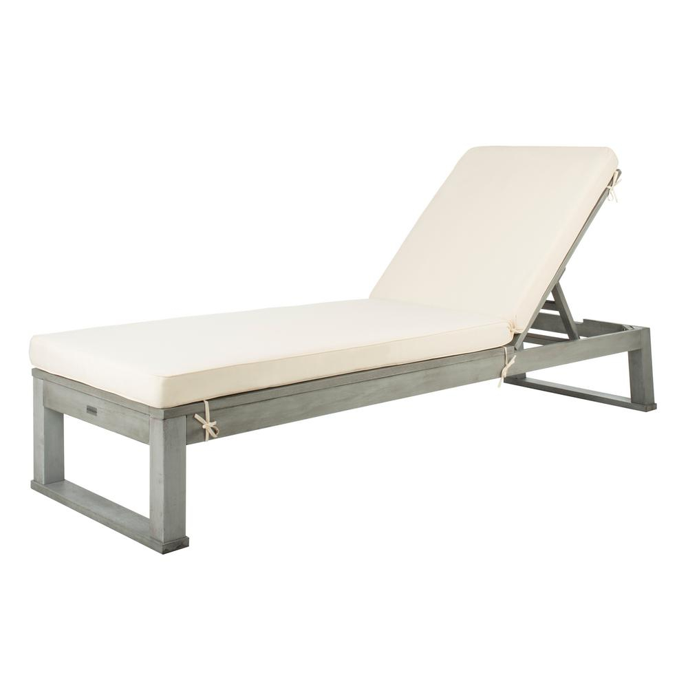Favorite Safavieh Solano Ash Grey Adjustable Wood Outdoor Lounge Chair With White Cushion Intended For Lounge Chairs In White With Grey Cushions (View 11 of 25)