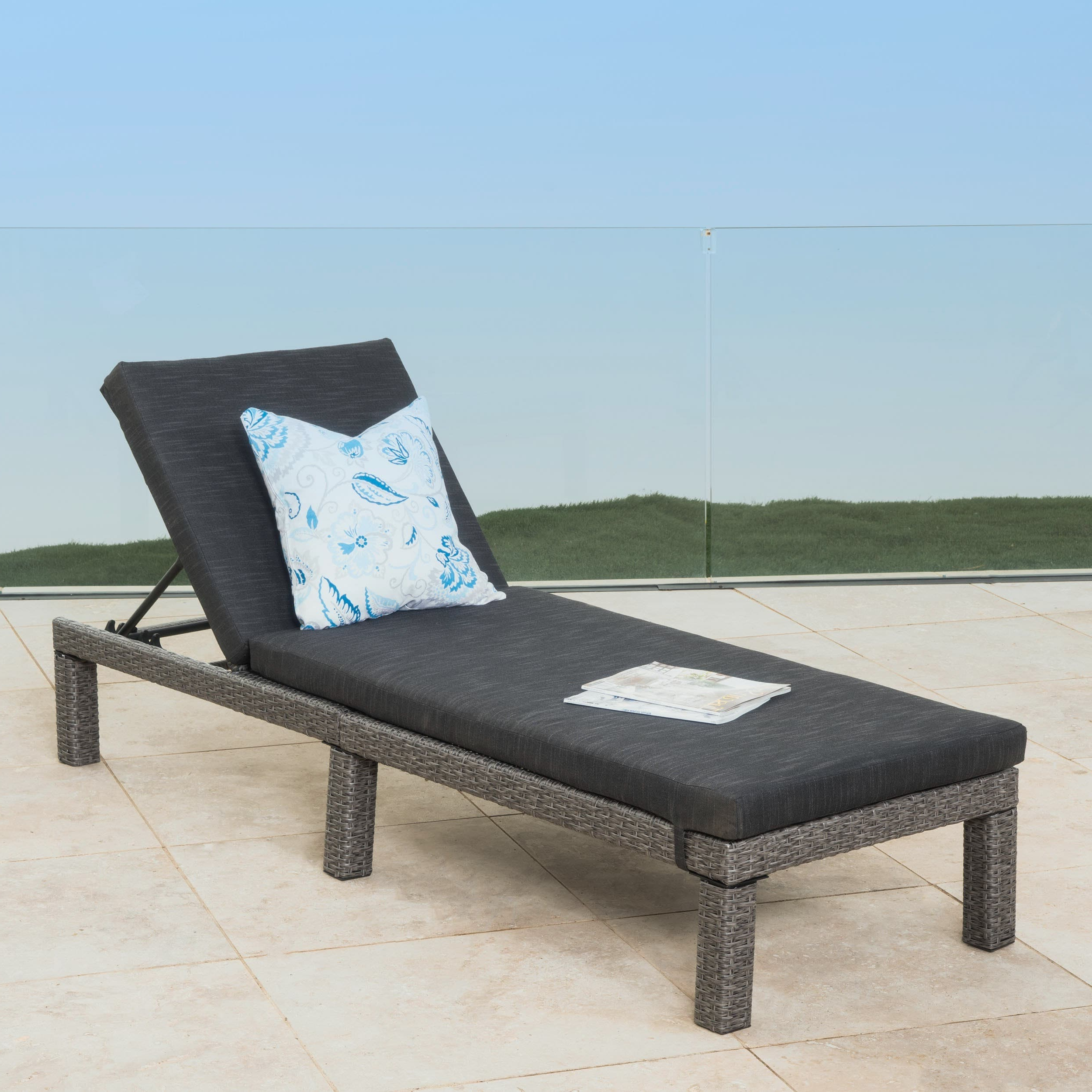 Favorite White Wicker Adjustable Chaise Loungers With Cushions Pertaining To Christopher Knight Home Puerta Outdoor Adjustable Wicker Chaise Lounge With  Cushion By (View 8 of 25)