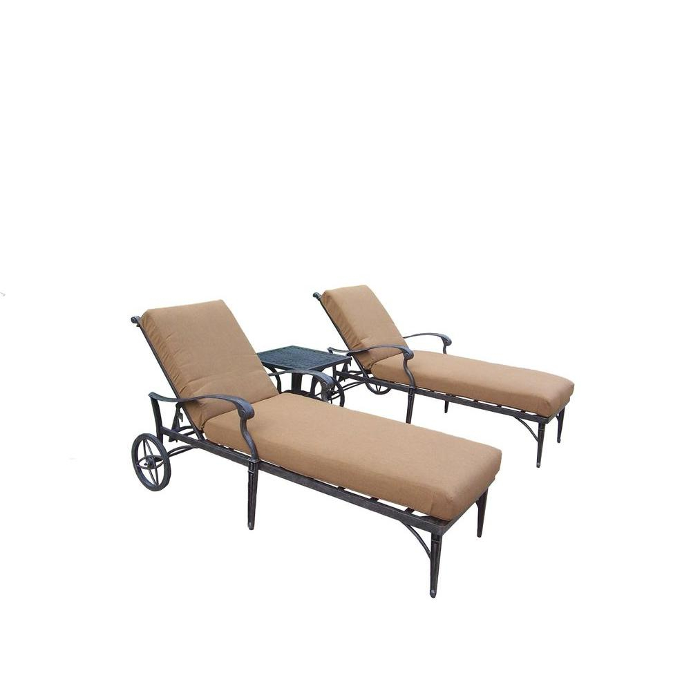 Floral Blossom Chaise Lounge Chairs With Cushion With Regard To Famous Oakland Living Cast Aluminum 3 Piece Patio Chaise Lounge Set With Sunbrella  Cushions (View 15 of 25)