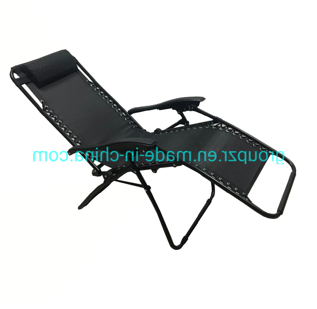 Foldable Camping And Lounge Chairs Within Most Current China Zero Gravity Outdoor Portable Folding Camping Leisure Beach Chair  With Pillow Armrest Garden (View 9 of 25)