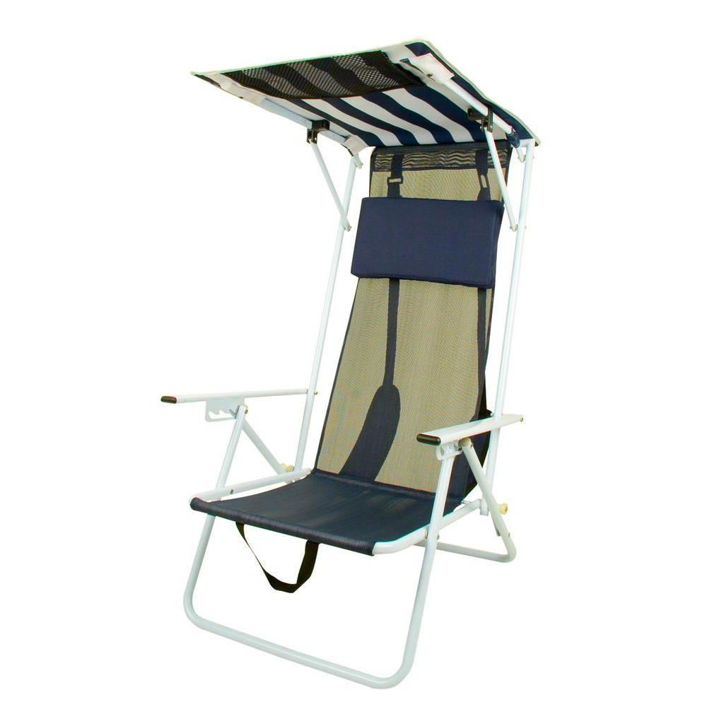 Folding Patio Lounge Beach Chairs With Canopy For Latest Quik Shade Navy Blue Stripe Beach Patio Folding Chair (View 10 of 25)