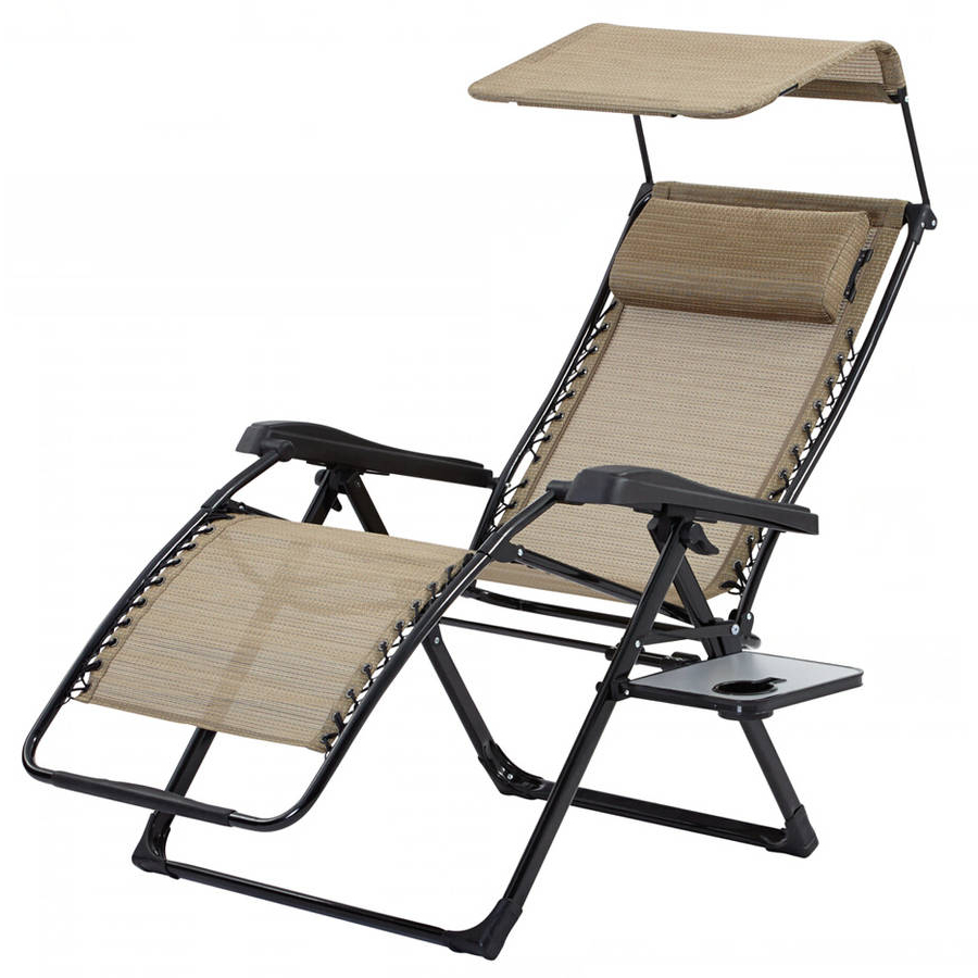 Folding Patio Lounge Beach Chairs With Canopy Regarding Trendy Xtremepowerus Canopy Sun Shade Zero Gravity Lounge Chair Pillow Patio Seat Folding Adjustable Reclining Chair Cup Holder, Beige (View 7 of 25)