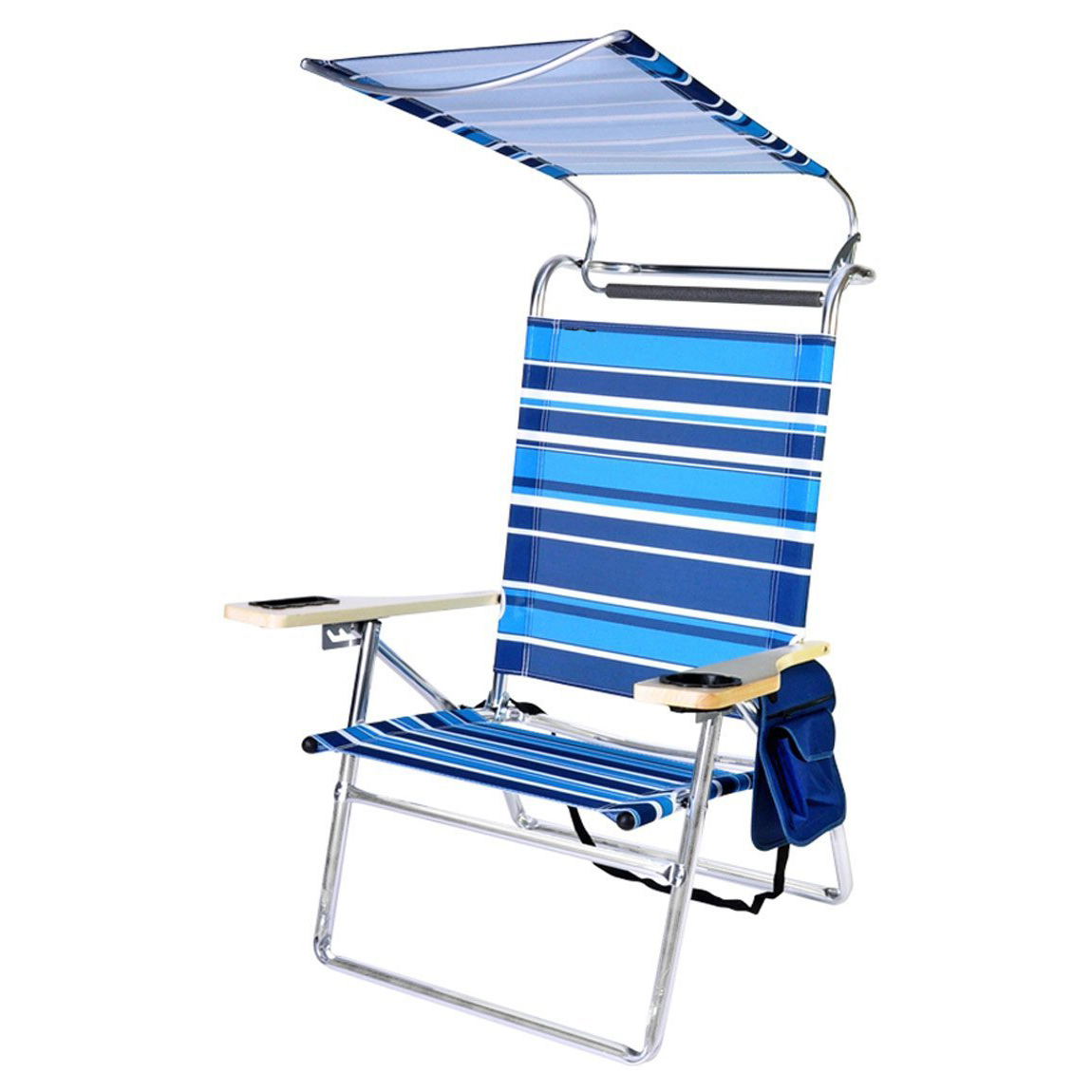 Folding Patio Lounge Beach Chairs With Canopy Within Most Popular Deluxe 4 Position Beach Chair Lounge Aluminum Lounger Folding Camping Outdoor Garden Sun Roof Shade Patio Beach With Canopy – Buy Beach Lounge Chair (View 11 of 25)