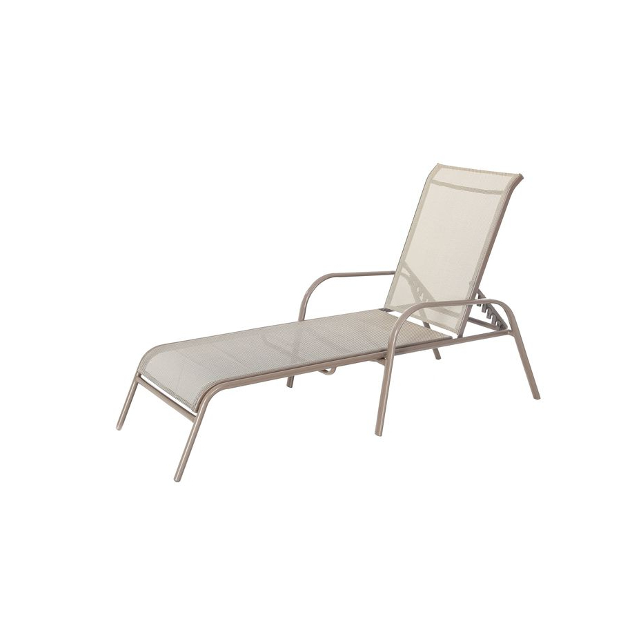 Garden Treasures Driscol Taupe Steel Stackable 4 Position Throughout Popular Steel Sling Fabric Outdoor Folding Chaise Lounges (Gallery 19 of 25)