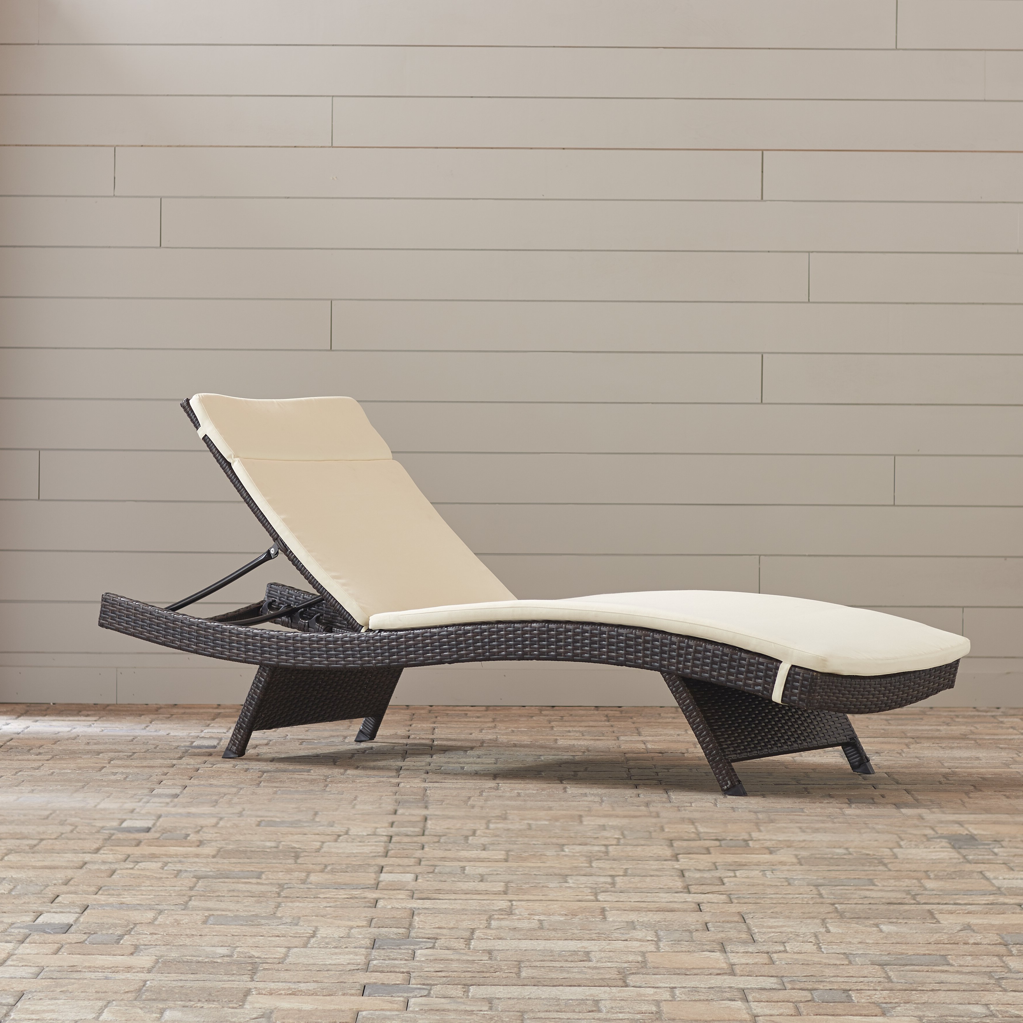 Garry Wicker Reclining Chaise Lounge With Cushion Within 2020 Outdoor Wicker Adjustable Chaise Lounges With Cushions (View 8 of 25)
