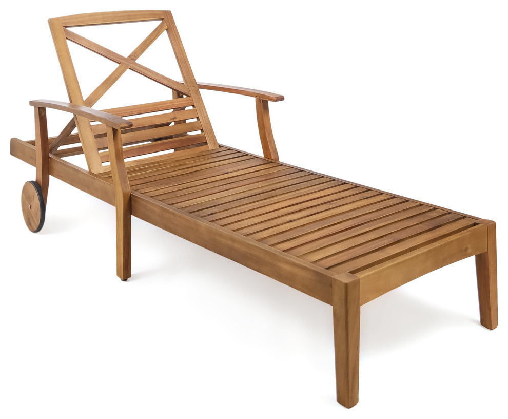 Gdf Studio Thalia Outdoor Teak Finished Acacia Wood Chaise Lounge, Single With Regard To Trendy Outdoor Acacia Wood Chaise Lounges And Cushion Sets (View 7 of 25)