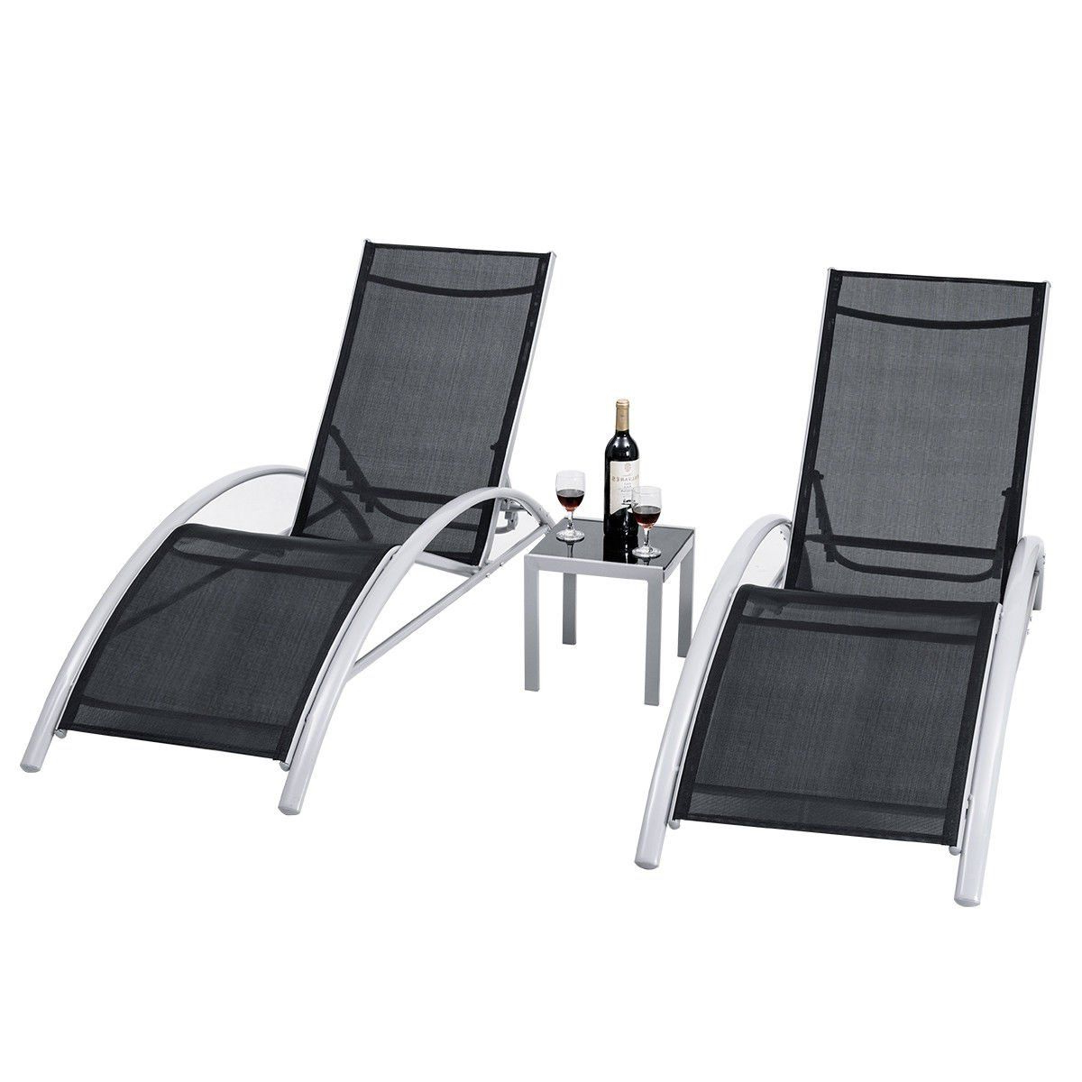 Giantex 3Piece Chaise Lounge Set W/ 1 Small Table 2 Chairs Pertaining To Most Recently Released Outdoor 3 Piece Chaise Lounger Sets With Table (Gallery 2 of 25)