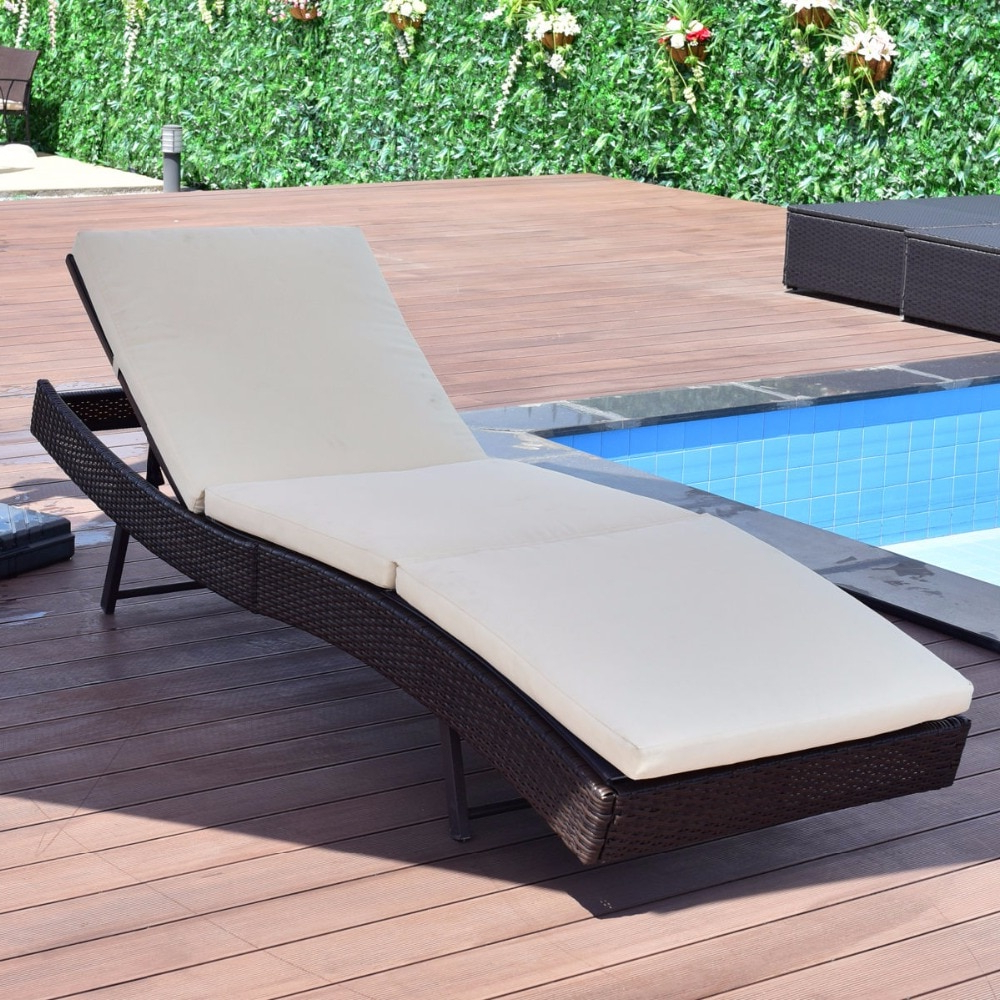 Giantex Patio Sun Bed Adjustable Pool Wicker Lounge Chair  Portable Outdoor Furniture Garden Sun Lounger With Cushion Hw54848 On  Aliexpress Regarding Famous Outdoor Adjustable Rattan Wicker Chaise Pool Chairs With Cushions (View 14 of 25)