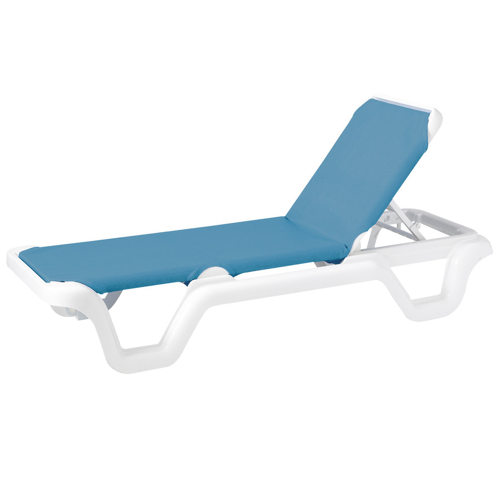Grosfillex 99404194 / Us404194 Marina White / Sky Blue Adjustable Sling  Chaise Lounge Chair With Preferred Adjustable Sling Fabric Patio Chaise Lounges (View 19 of 25)