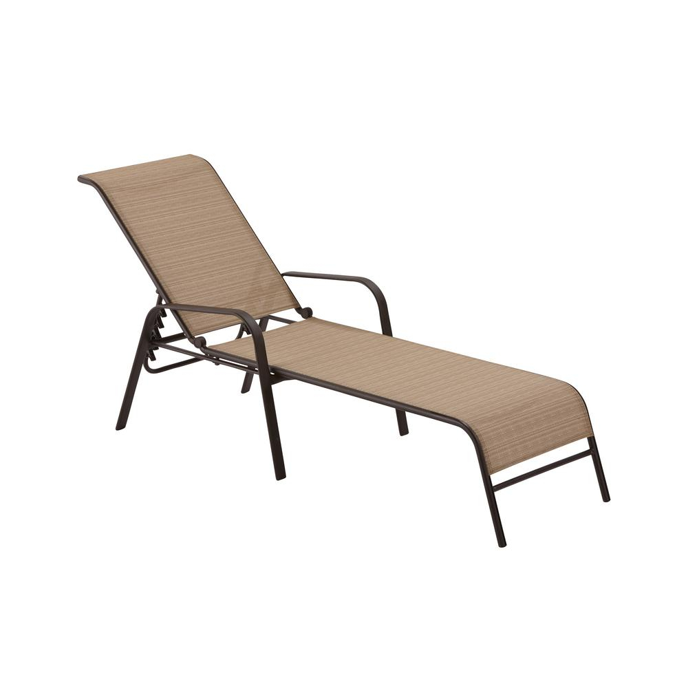 Hampton Bay Mix And Match Sling Outdoor Chaise Lounge In Recent Plastic Chaise Lounges W/ Wheels (View 11 of 25)
