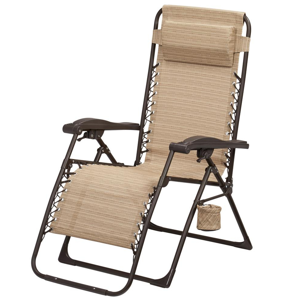 Hampton Bay Mix And Match Zero Gravity Sling Outdoor Chaise Lounge Chair In Cafe Regarding Best And Newest Multi Position Iron Chaise Lounges (View 11 of 25)