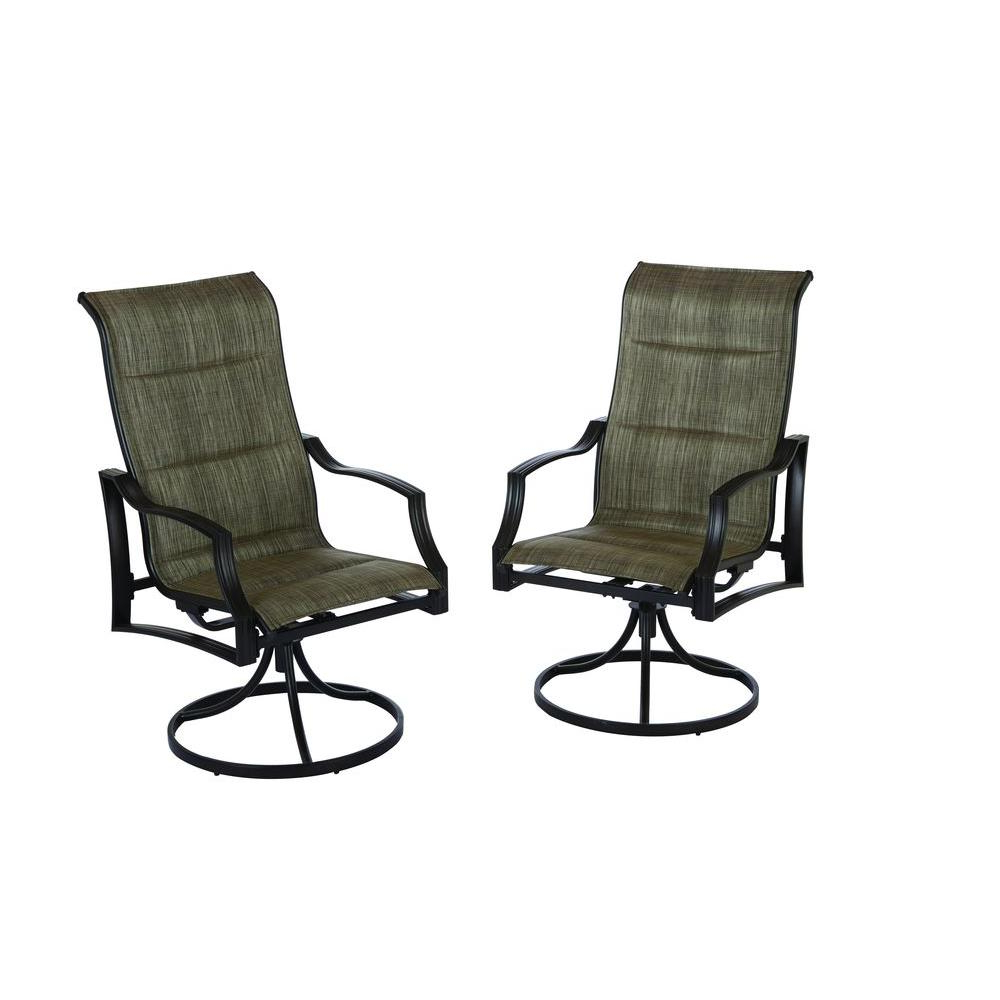 Hampton Bay Statesville Padded Sling Swivel Patio Dining Chair (2 Pack) Within Best And Newest Canvas Patio Sling Chairs (View 15 of 25)