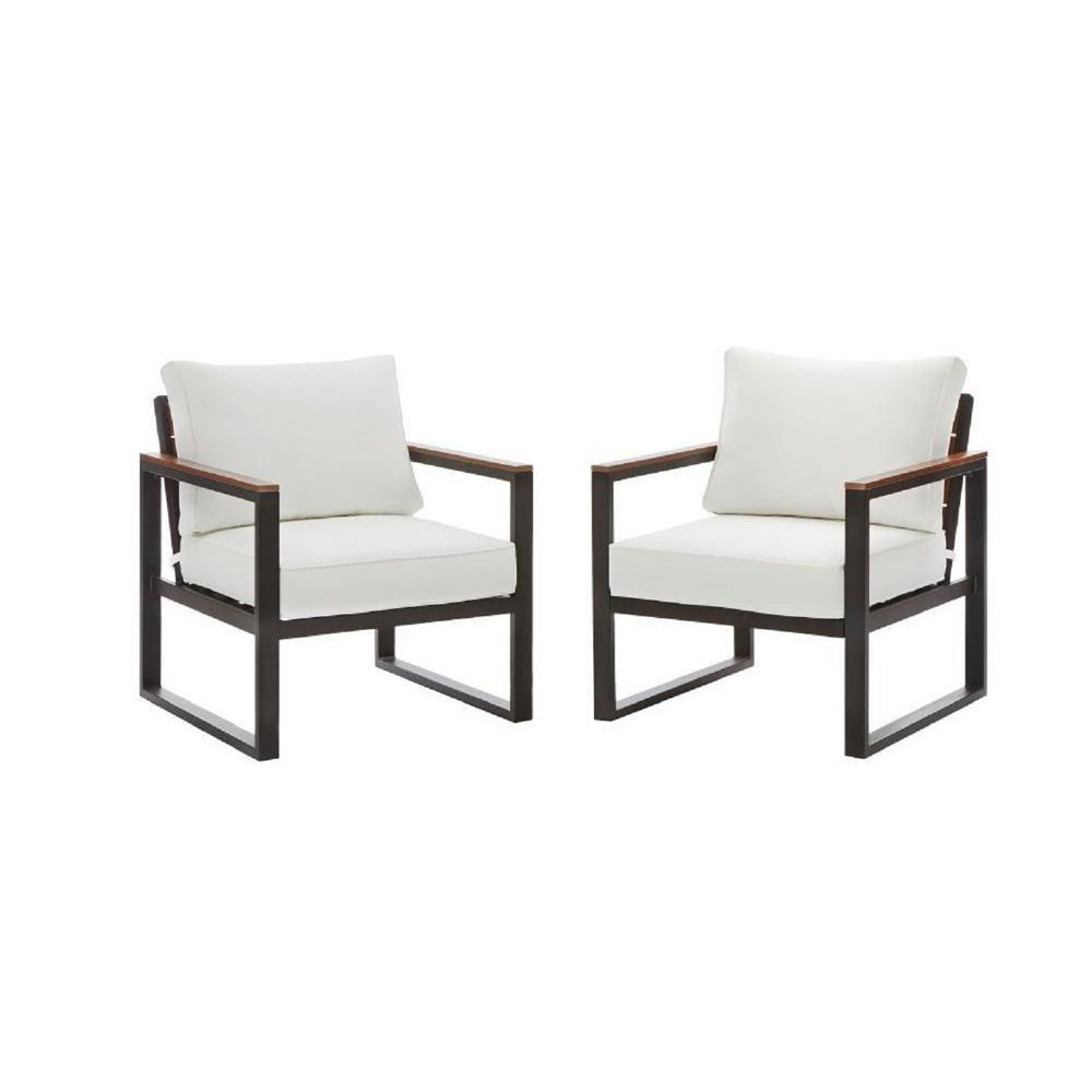 Hampton Bay West Park Black Aluminum Outdoor Patio Lounge Chair With Standard White Cushions (2 Pack) With Best And Newest Standard Size Chaise Lounge Chairs (View 14 of 25)