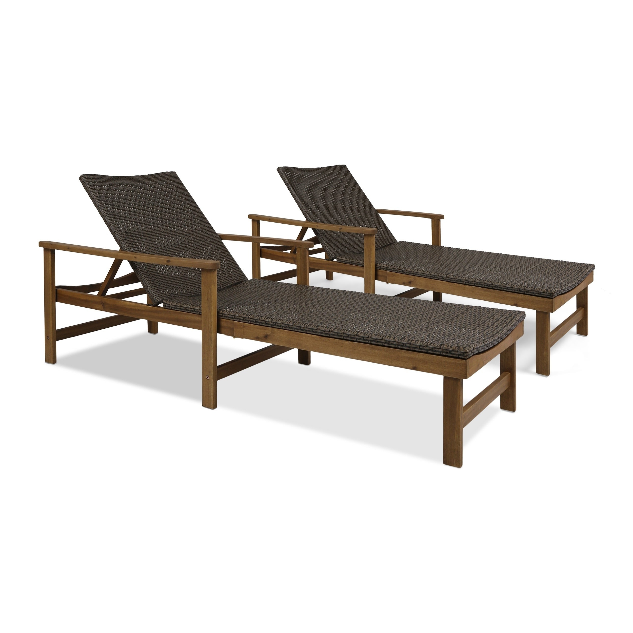 Hampton Outdoor Chaise Lounges Acacia Wood And Wicker (Set Of 2) Christopher Knight Home Intended For Favorite Outdoor 3 Piece Acacia Wood Chaise Lounge Sets (View 11 of 25)