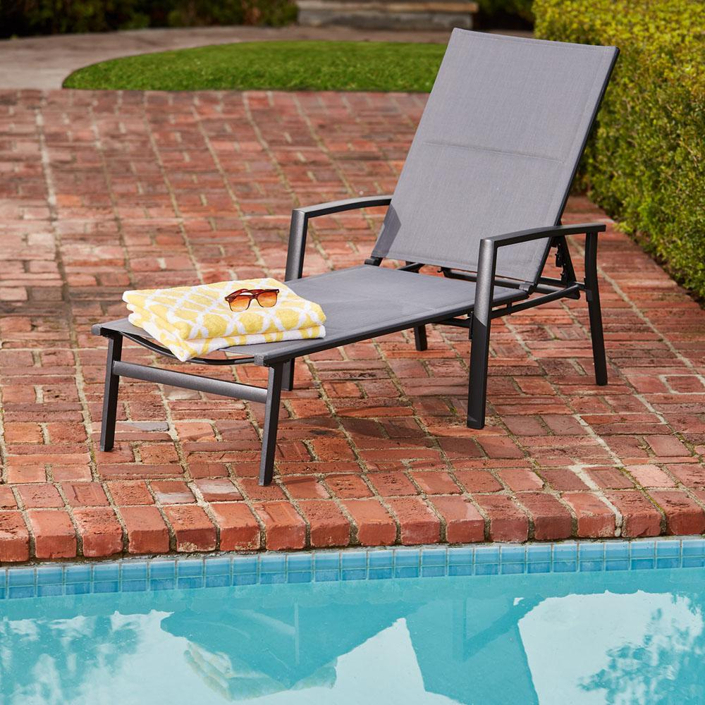 Hanover Halsted Aluminum Outdoor Chaise Lounge With Padded Sling Seat In  Gray Throughout Newest Antonio Sling Fabric Adjustable Outdoor Chaise Lounges (View 17 of 25)