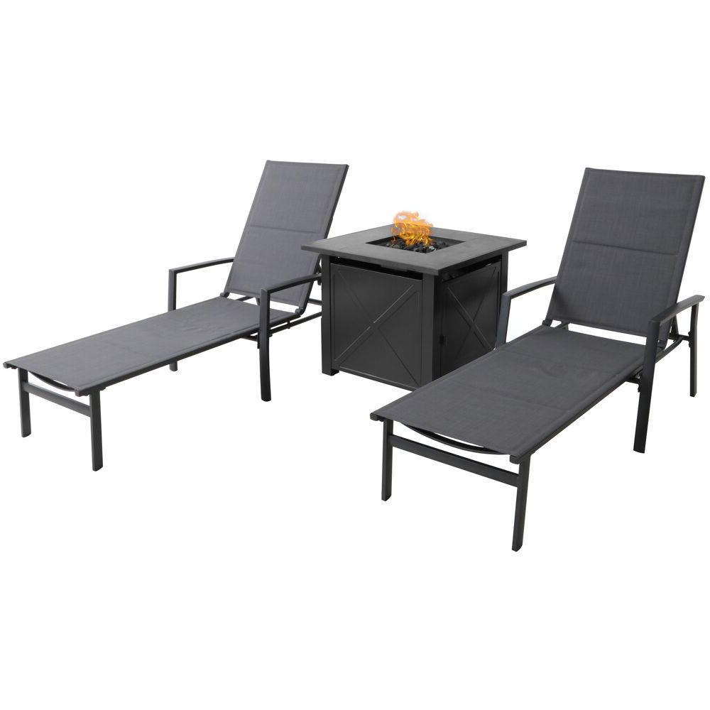 Hanover Halsted Gray 3 Piece Aluminum Patio Fire Pit Set Featuring A 40,000 Btu Tile Top Fire Pit Table Within Preferred Hanover Halsted Padded Chaises (View 9 of 25)