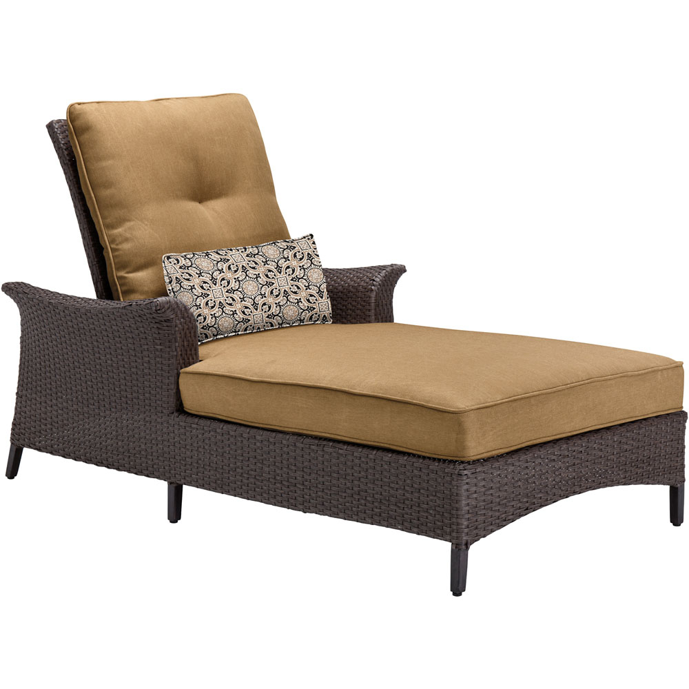 Hanover Halsted Padded Chaises Within Best And Newest Hanover Gramercy Woven Chaise Lounge Chair With Country Cork Cushions And  Lumbar Accent Pillow, Tan (View 14 of 25)