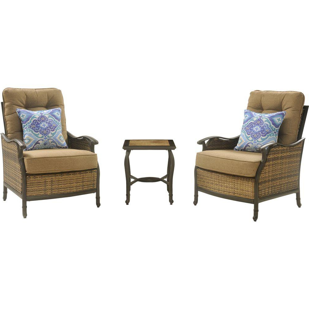 Hanover Hudson 3 Piece Patio Square Lounge Set With Teak Cushions Throughout Latest 3 Piece Patio Lounger Sets (View 13 of 25)