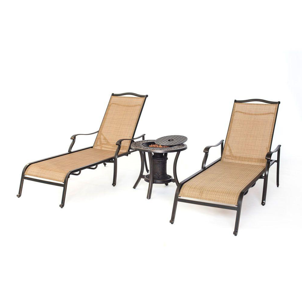 Hanover Monaco 3 Piece Patio Chaise Lounge Set With Fire Urn Side Table Inside Best And Newest Outdoor 3 Piece Chaise Lounger Sets With Table (View 4 of 25)
