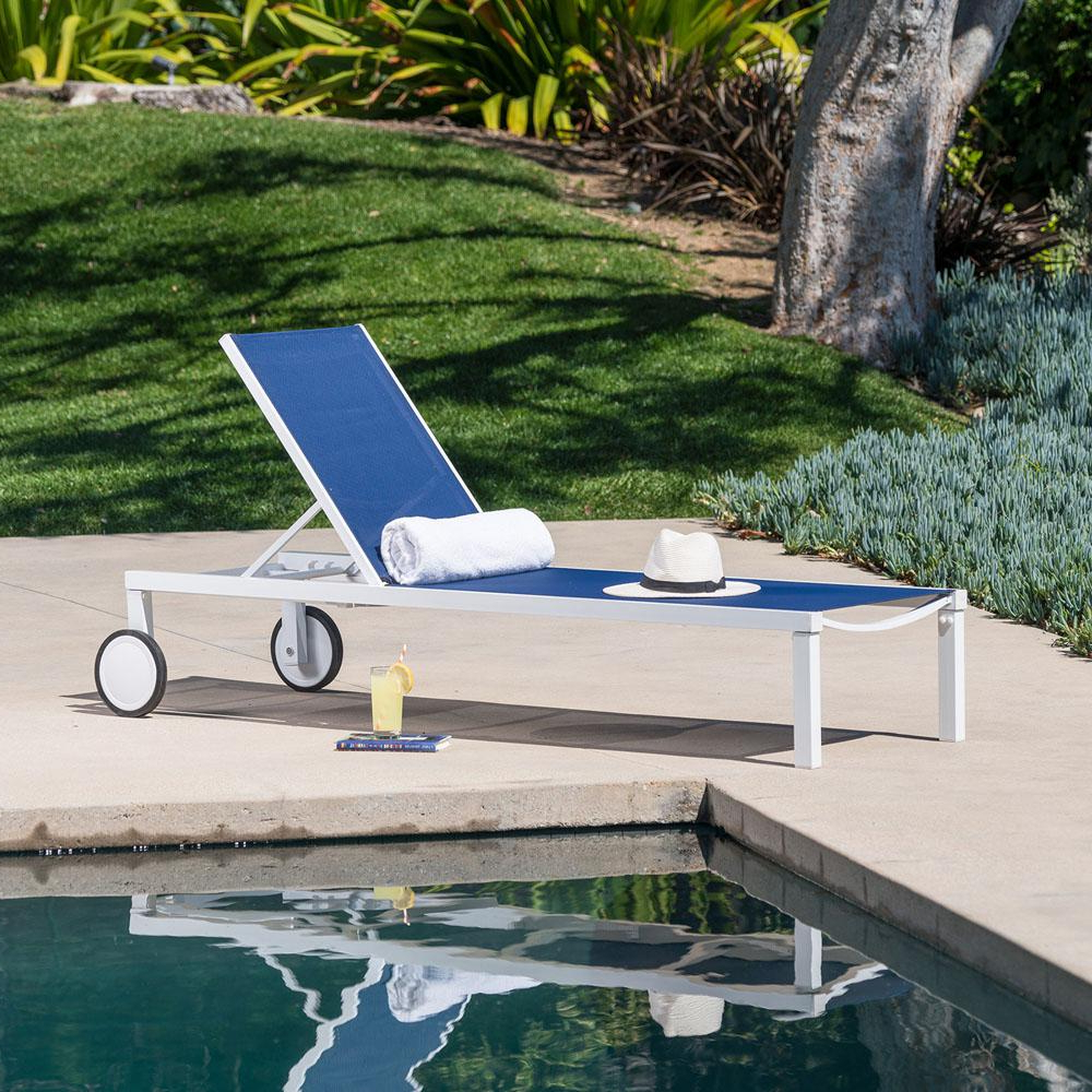 Hanover Windham White Frame Adjustable Sling Outdoor Chaise Lounge In Navy  Blue Sling Regarding Newest Hanover Halsted Padded Chaises (View 18 of 25)