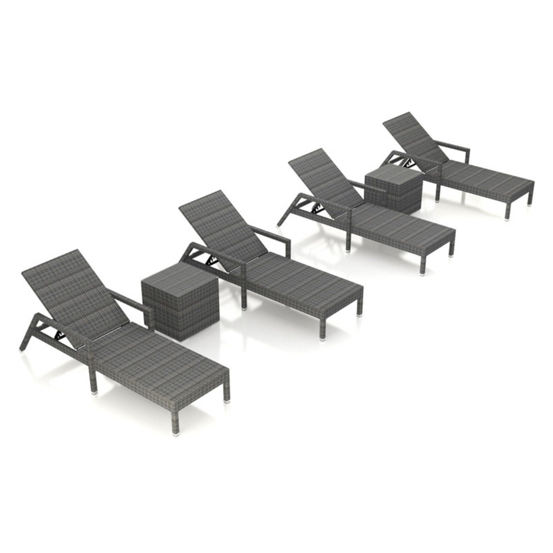 Harmonia Living District 6 Piece Outdoor Chaise Lounge Set Throughout Newest Nautical 3 Piece Outdoor Chaise Lounge Sets With Wheels And Table (View 18 of 25)