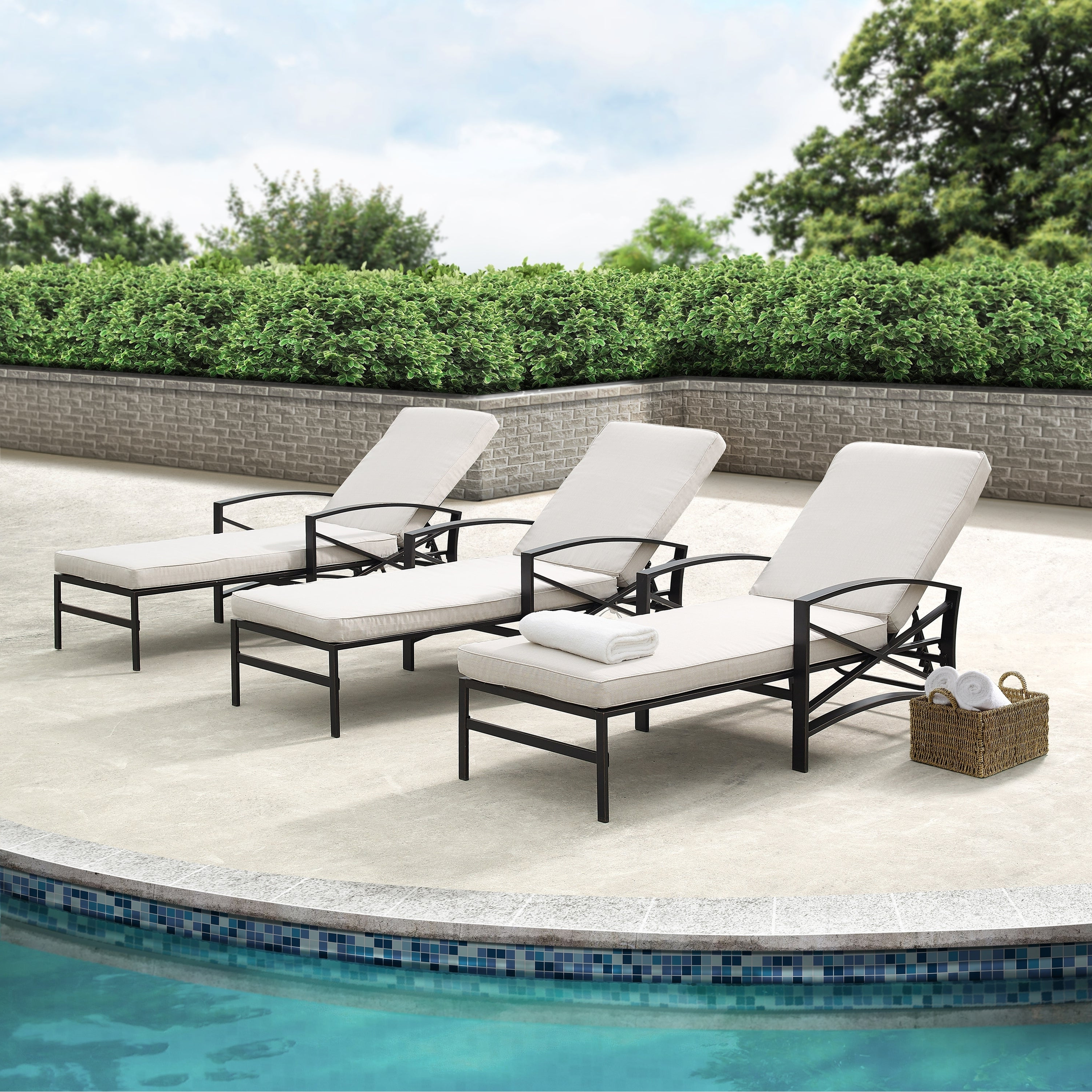 Featured Photo of Chaise Lounge Chairs in Bronze with Oatmeal Cushions