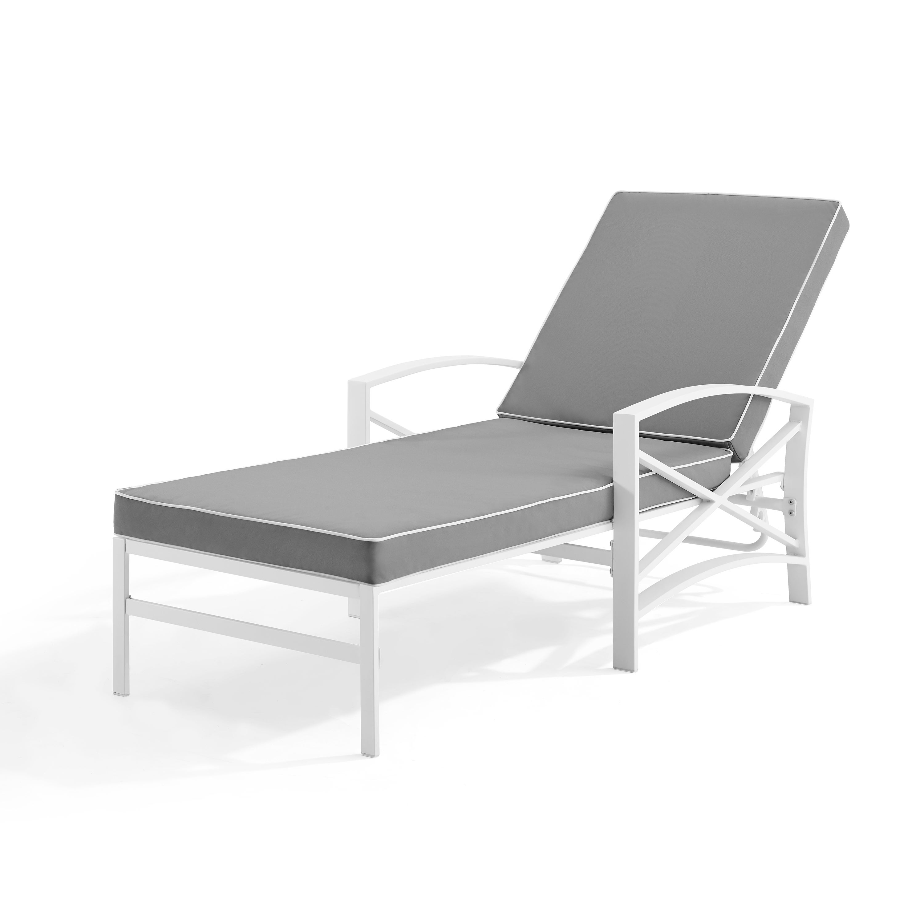 Havenside Home Davis Chaise Lounge Chair In White With Grey Cushions For Widely Used Lounge Chairs In White With Grey Cushions (View 2 of 25)