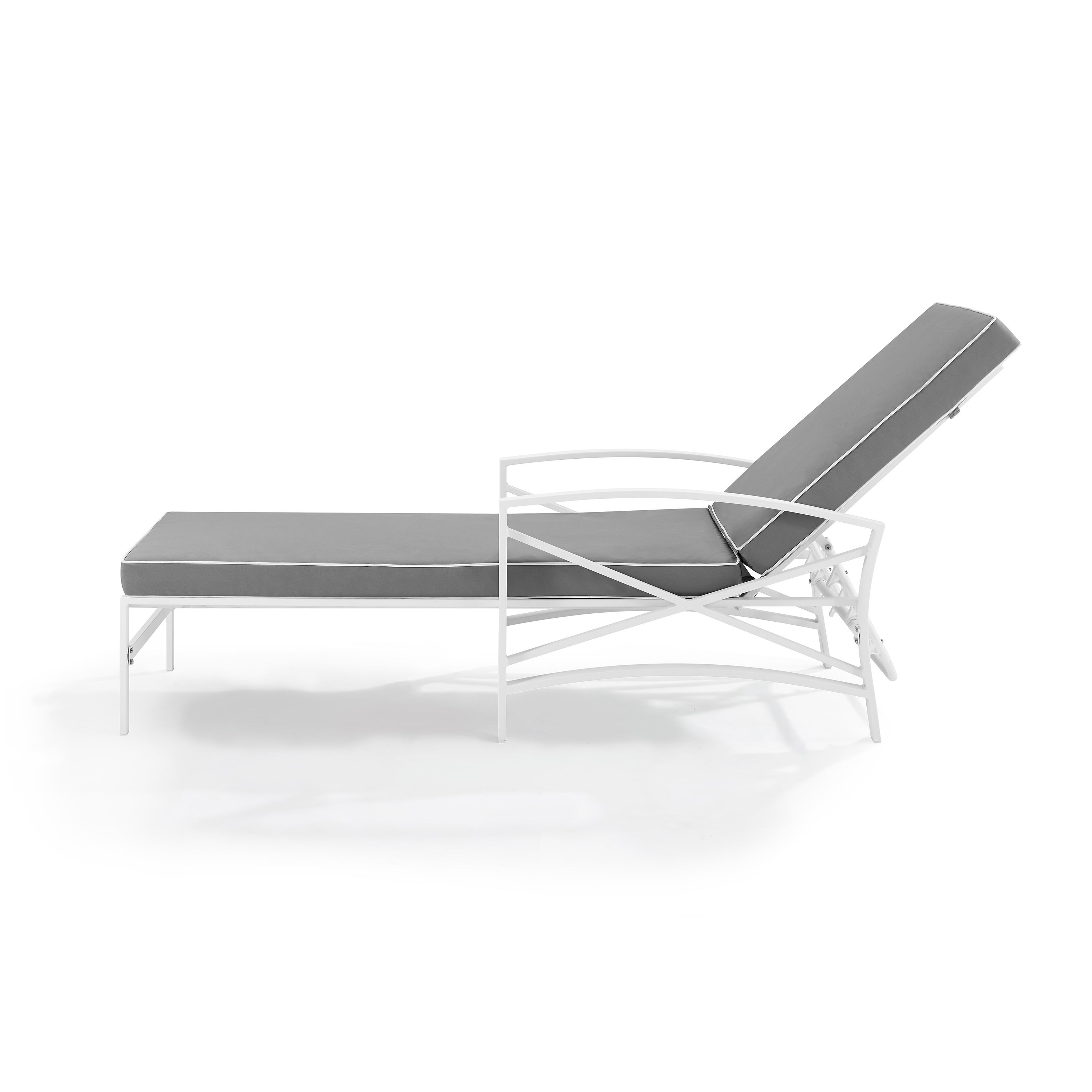 Havenside Home Davis Chaise Lounge Chair In White With Grey Cushions In 2019 Lounge Chairs In White With Grey Cushions (View 5 of 25)