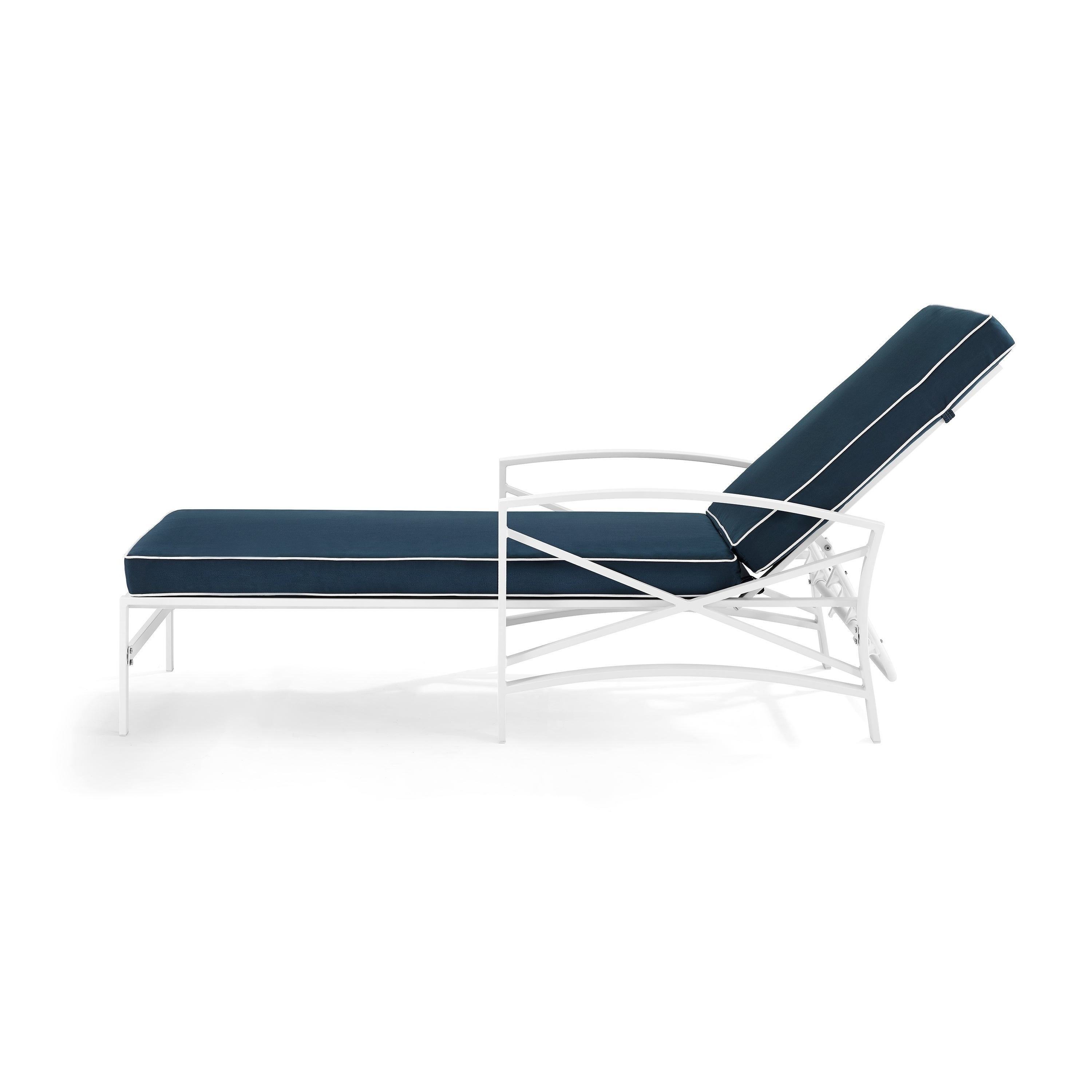 Havenside Home Davis Chaise Lounge Chair In White With Navy Cushions Pertaining To Most Up To Date Chaise Lounge Chairs In White With Navy Cushions (View 3 of 25)