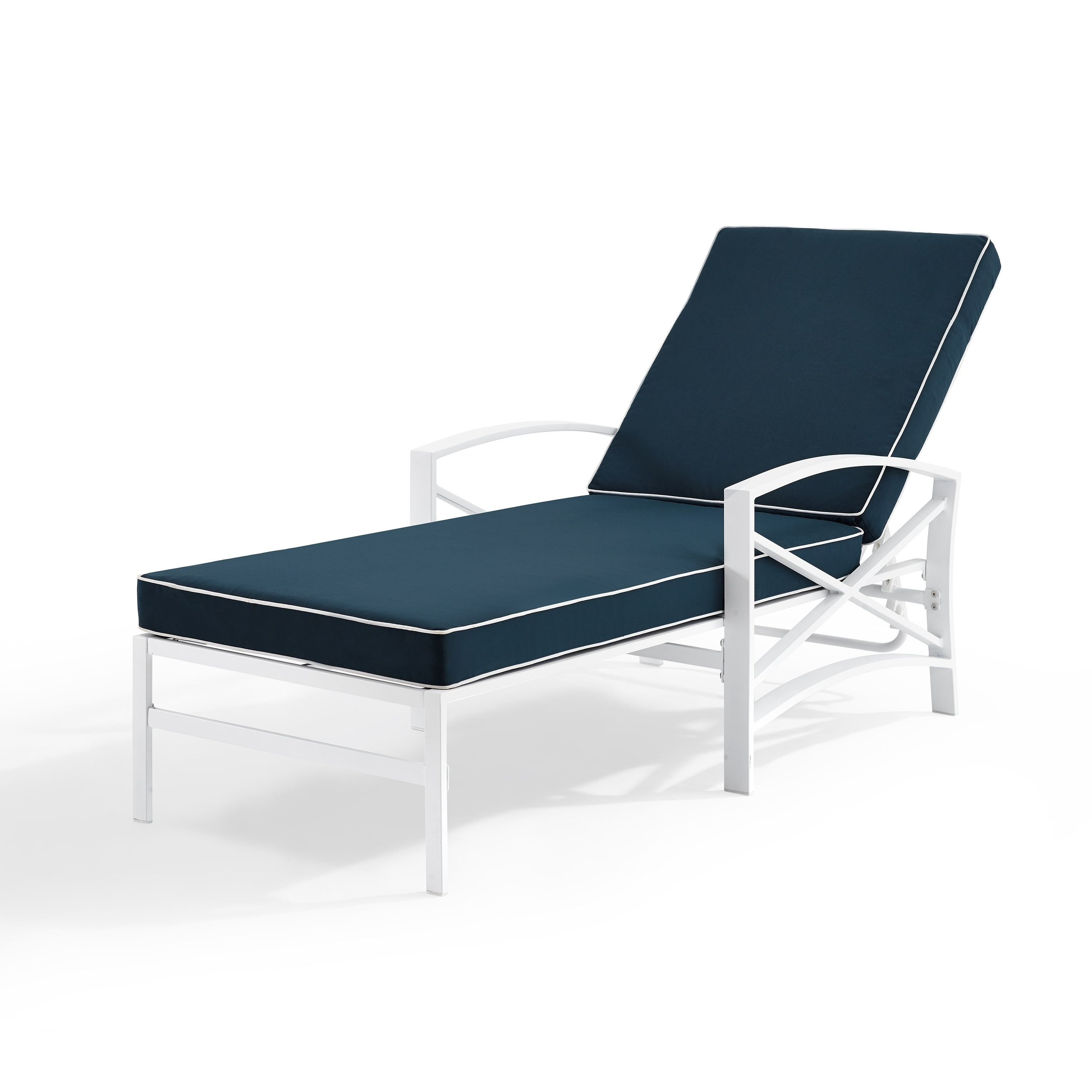 Havenside Home Davis Chaise Lounge Chair In White With Navy Cushions Pertaining To Most Up To Date Chaise Lounge Chairs In White With Navy Cushions (View 2 of 25)